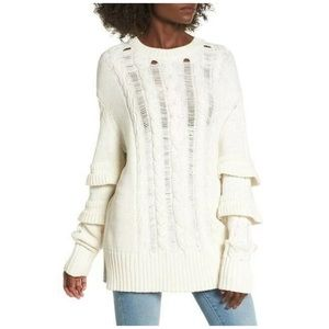 NWT Blank NYC White Knit Sweater Ruffled Large